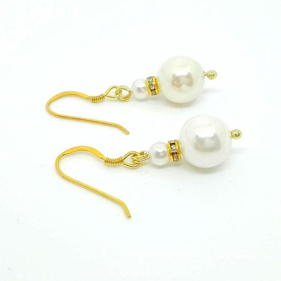 HANDMADE EARRINGS PEARL GOLD (SK102)