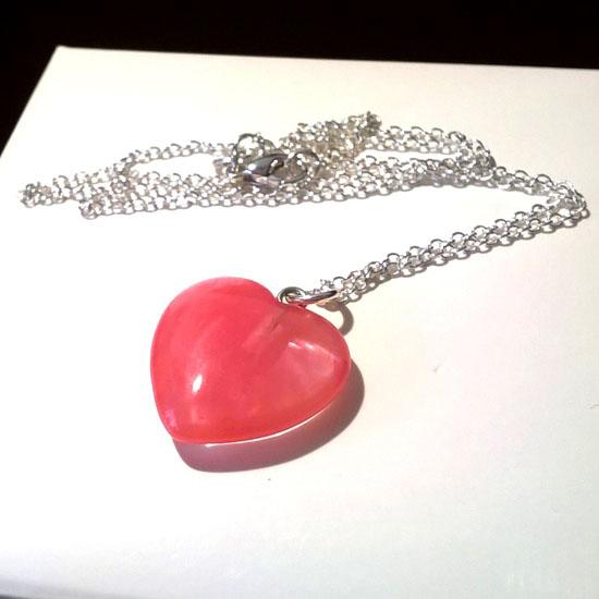 PENDANT HEART STRAWBERRY QUARTZ SILVER (M157)