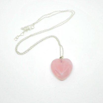 PENDANT HEART PINK QUARTZ SILVER