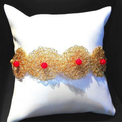 HANDMADE BRACELET CORAL BYZANTINE KNITTED GOLD