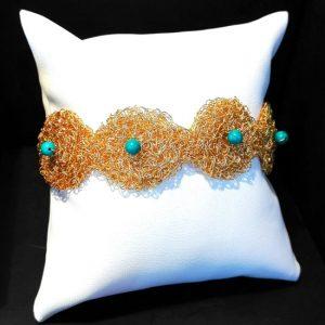 HANDMADE BRACELET TURQUOISE BYZANTINE KNITTED GOLD